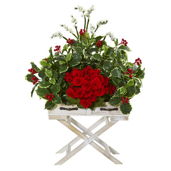 28 Begonia and Holly Leaf Artificial Arrangement in Drawer Planter - SKU #A1101
