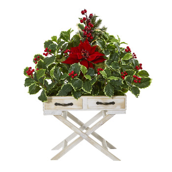 26 Poinsettia and Holly Berry Artificial Arrangement in Drawer Planter - SKU #A1102