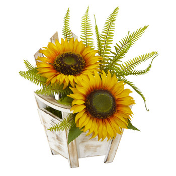 Sunflower and Fern Artificial Arrangement in Chair Planter - SKU #A1103