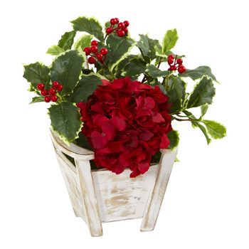 Hydrangea and Holly Leaf Artificial Arrangement in Chair Planter - SKU #A1104