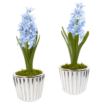 13 Hyacinth Artificial Arrangement in White Vase with Silver Trimming Set of 2 - SKU #A1105-S2