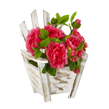 9 Camellia Artificial Arrangement in Chair Planter - SKU #A1106