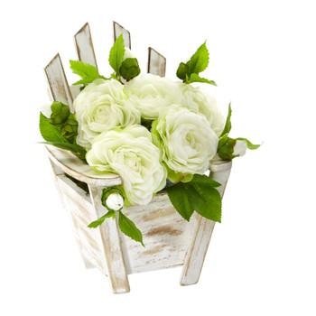 9 Camellia Artificial Arrangement in Chair Planter - SKU #A1106