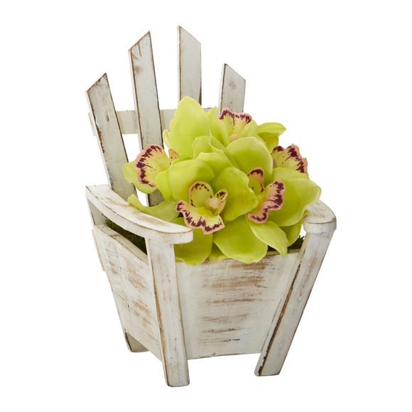 Cymbidium Orchid Artificial Arrangement in Chair Planter - SKU #A1107 - 8