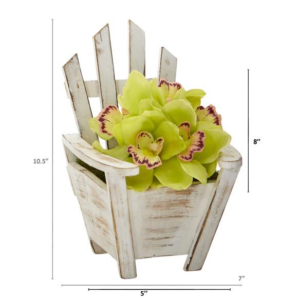 Cymbidium Orchid Artificial Arrangement in Chair Planter - SKU #A1107 - 9
