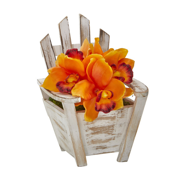 Cymbidium Orchid Artificial Arrangement in Chair Planter - SKU #A1107 - 6