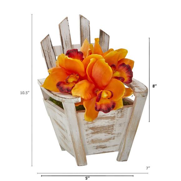 Cymbidium Orchid Artificial Arrangement in Chair Planter - SKU #A1107 - 7