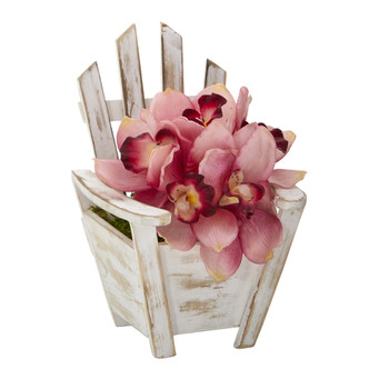 Cymbidium Orchid Artificial Arrangement in Chair Planter - SKU #A1107