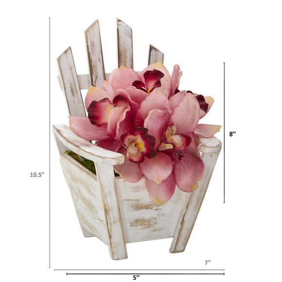 Cymbidium Orchid Artificial Arrangement in Chair Planter - SKU #A1107 - 1