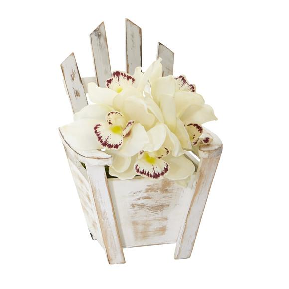 Cymbidium Orchid Artificial Arrangement in Chair Planter - SKU #A1107 - 2