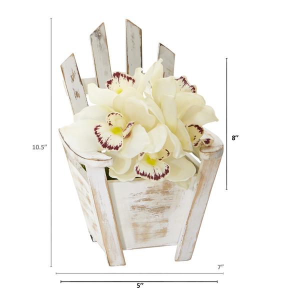Cymbidium Orchid Artificial Arrangement in Chair Planter - SKU #A1107 - 3