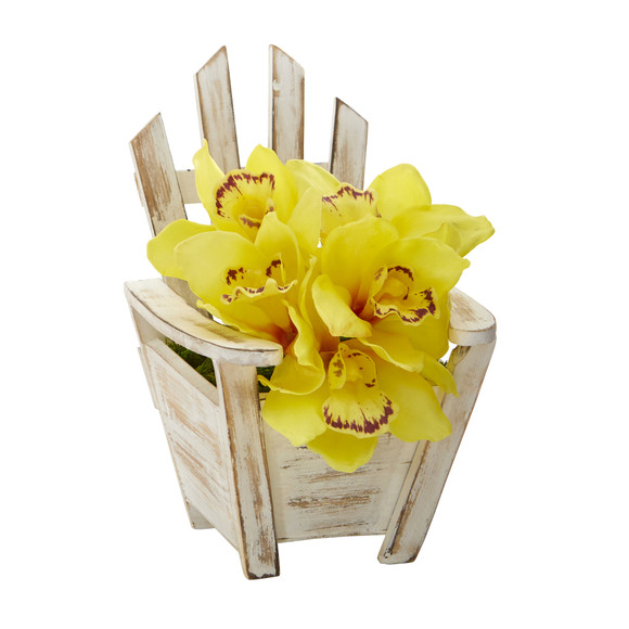 Cymbidium Orchid Artificial Arrangement in Chair Planter - SKU #A1107 - 4