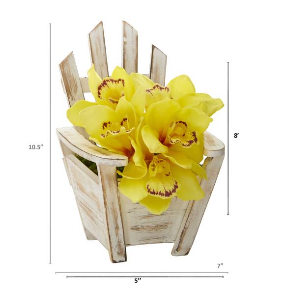 Cymbidium Orchid Artificial Arrangement in Chair Planter - SKU #A1107 - 5