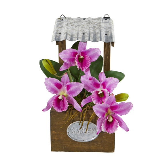 14 Cattleya Orchid Artificial Arrangement in Tin Roof Planter - SKU #A1108 - 4