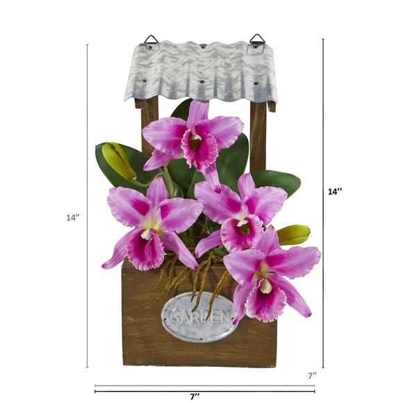 14 Cattleya Orchid Artificial Arrangement in Tin Roof Planter - SKU #A1108 - 5