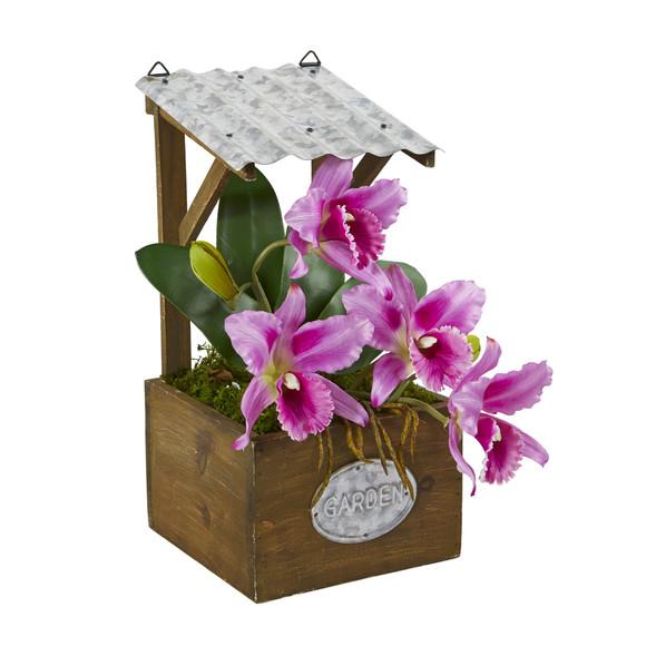 14 Cattleya Orchid Artificial Arrangement in Tin Roof Planter - SKU #A1108 - 6