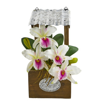 14 Cattleya Orchid Artificial Arrangement in Tin Roof Planter - SKU #A1108