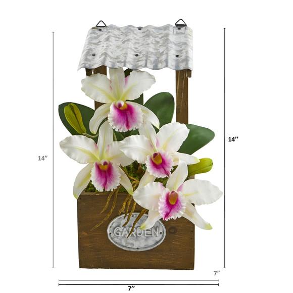 14 Cattleya Orchid Artificial Arrangement in Tin Roof Planter - SKU #A1108 - 1
