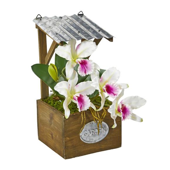 14 Cattleya Orchid Artificial Arrangement in Tin Roof Planter - SKU #A1108 - 2