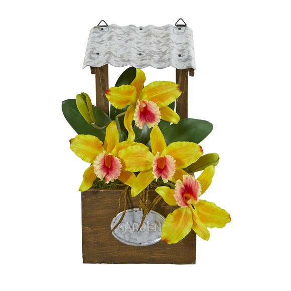 14 Cattleya Orchid Artificial Arrangement in Tin Roof Planter - SKU #A1108 - 8