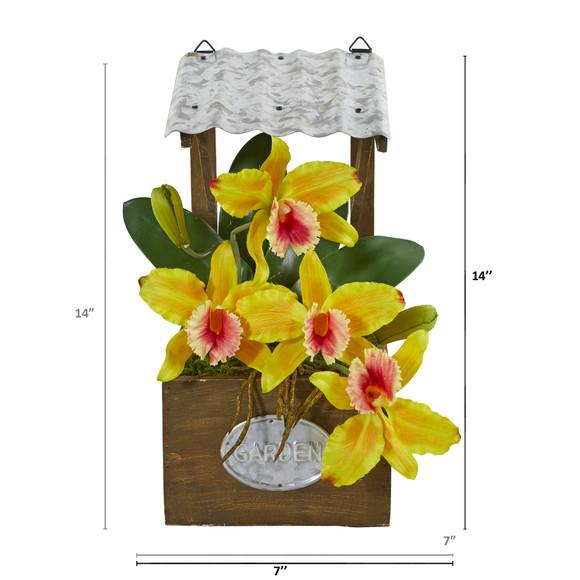 14 Cattleya Orchid Artificial Arrangement in Tin Roof Planter - SKU #A1108 - 9