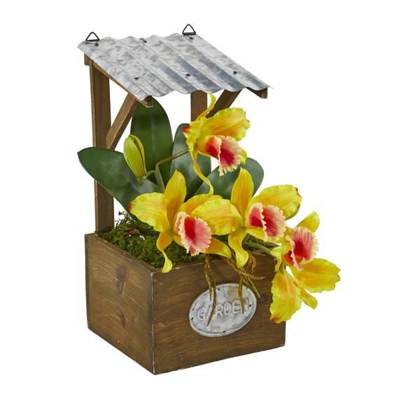 14 Cattleya Orchid Artificial Arrangement in Tin Roof Planter - SKU #A1108 - 10