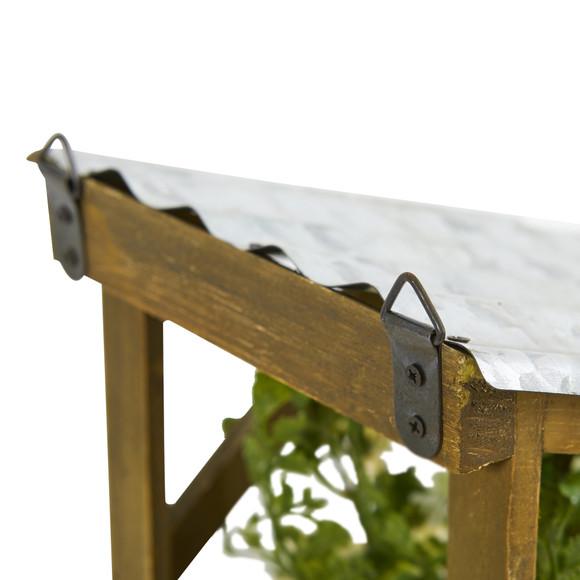 14 Cattleya Orchid Artificial Arrangement in Tin Roof Planter - SKU #A1108 - 11