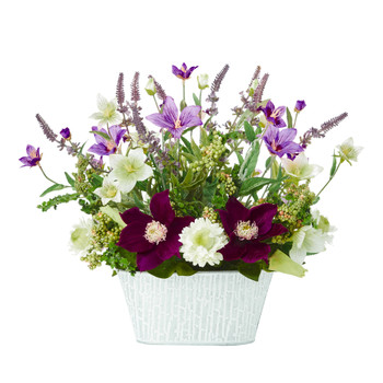 13 Mixed Flower Artificial Arrangement in Decorative Vase - SKU #A1109