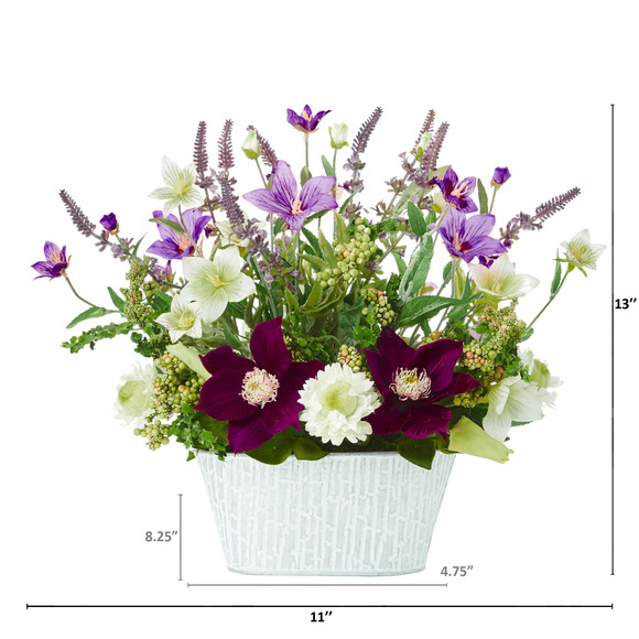 13 Mixed Flower Artificial Arrangement in Decorative Vase - SKU #A1109 - 1