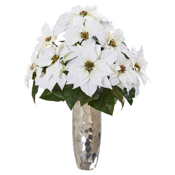 Poinsettia Artificial Arrangement in Silver Cylinder Vase - SKU #A1110