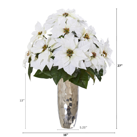 Poinsettia Artificial Arrangement in Silver Cylinder Vase - SKU #A1110 - 1