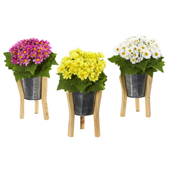 11 Daisy Artificial Arrangement in Tin Vase Set of 3 - SKU #A1111-S3