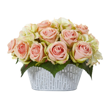 Rose and Hydrangea Artificial Arrangement in Decorative Vase - SKU #A1112