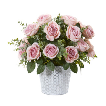 16 Rose and Eucalyptus Artificial Arrangement in Tin Vase - SKU #A1113