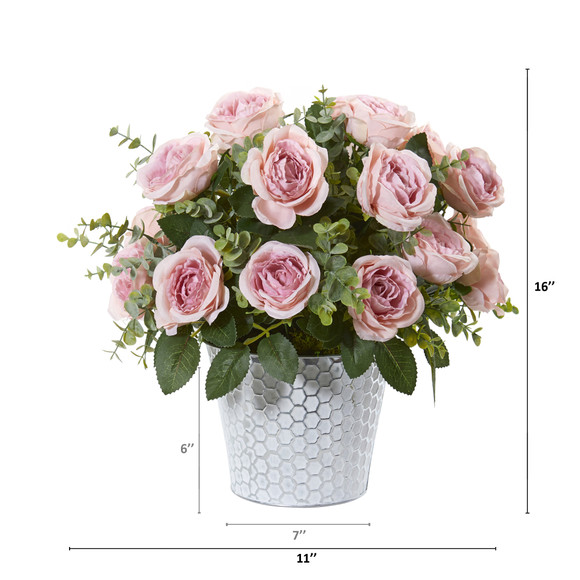 16 Rose and Eucalyptus Artificial Arrangement in Tin Vase - SKU #A1113-PK - 1