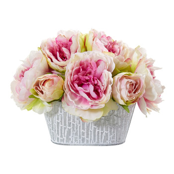 Peony Artificial Arrangement in Decorative Vase - SKU #A1114