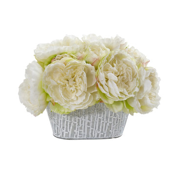 Peony Artificial Arrangement in Decorative Vase - SKU #A1114-WH