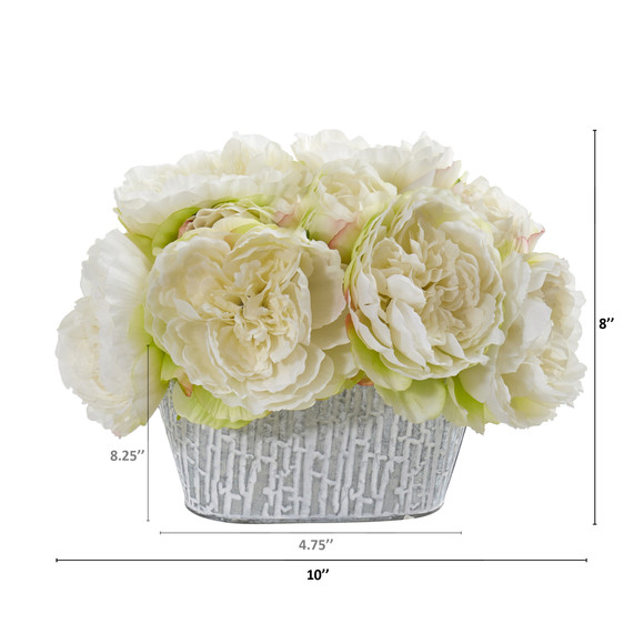 Peony Artificial Arrangement in Decorative Vase - SKU #A1114-WH - 1