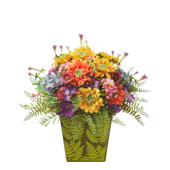 Mixed Flowers Artificial Arrangement in Green Vase - SKU #A1115