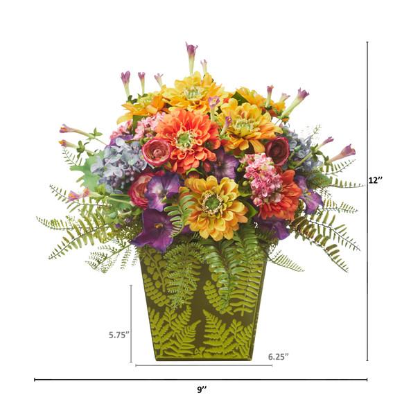 Mixed Flowers Artificial Arrangement in Green Vase - SKU #A1115 - 1