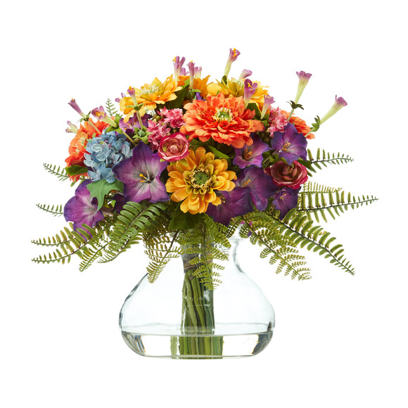 11 Mixed Flowers Artificial Arrangement in Glass Vase - SKU #A1116
