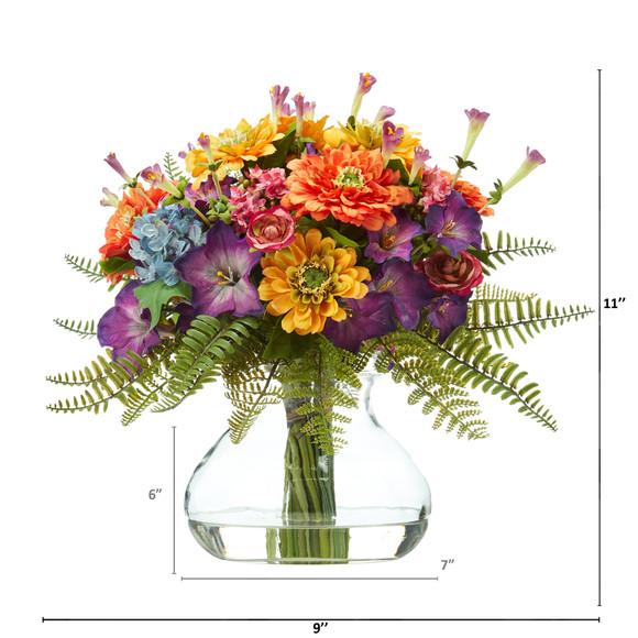11 Mixed Flowers Artificial Arrangement in Glass Vase - SKU #A1116 - 1