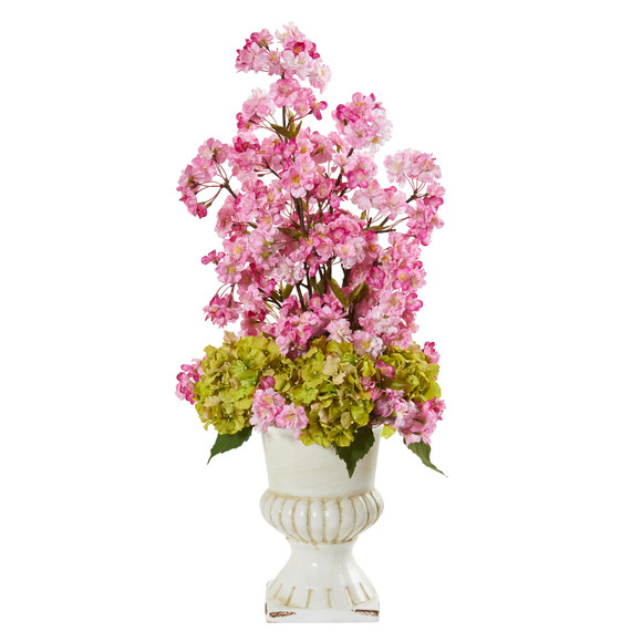 29 Hydrangea and Cherry Blossom Artificial Arrangement in White Urn - SKU #A1117