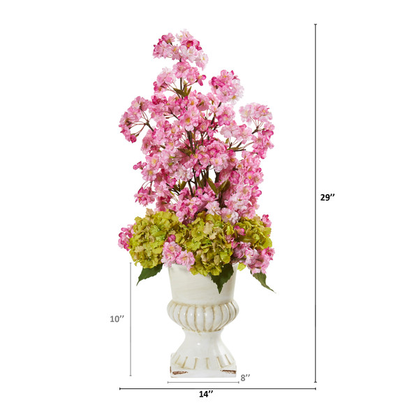 29 Hydrangea and Cherry Blossom Artificial Arrangement in White Urn - SKU #A1117 - 1