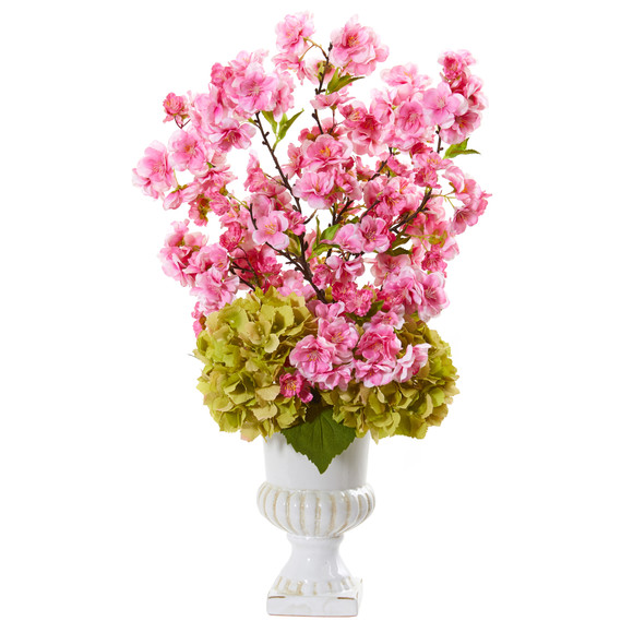 23 Hydrangea and Cherry Blossom Artificial Arrangement in White Urn - SKU #A1118