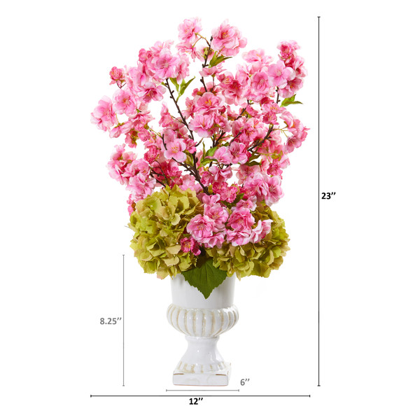 23 Hydrangea and Cherry Blossom Artificial Arrangement in White Urn - SKU #A1118 - 1