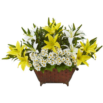 20 Lilly and Daisy Artificial Arrangement in Metal Planter - SKU #A1119