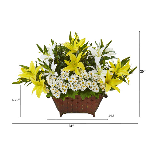 20 Lilly and Daisy Artificial Arrangement in Metal Planter - SKU #A1119 - 1