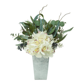 21 Cymbidium Orchid and Eucalyptus Artificial Arrangement - SKU #A1120