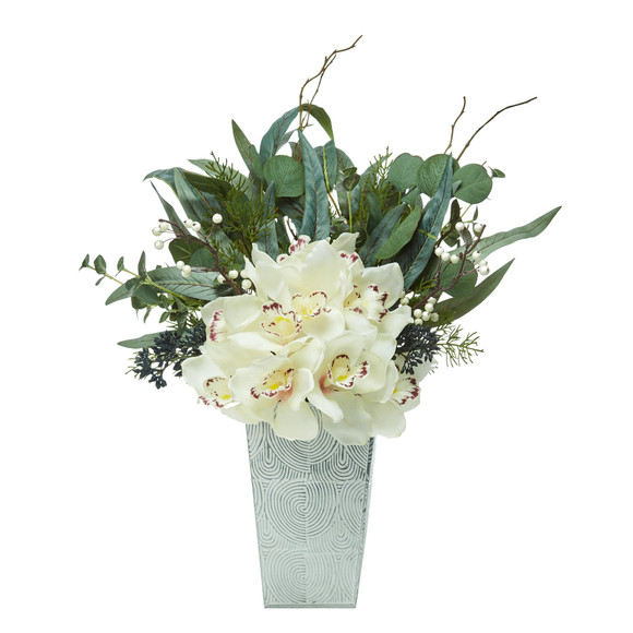 21 Cymbidium Orchid and Eucalyptus Artificial Arrangement - SKU #A1120